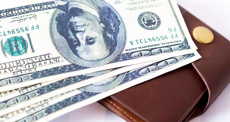 革の財布から出されたお札
